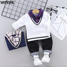 e5c554bdd7c6 YATFIML 2019 Spring Autumn Leisure suit kids Plaid collar shirt+Pants for  girls boys outfits long sleeve college style