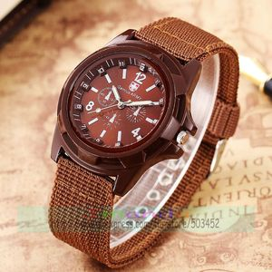 Image 2 - 100pcs/lot Fashion Gemius Army Design Men Watch Charming Sport Quartz nylon Watch Wrap Nylon Military Watches wholesale clock
