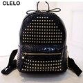CLELO 2017 PU Rivet Women Bag Backpacks fashion shoulder bag Sequined waterproof shoulder bag black gold silver