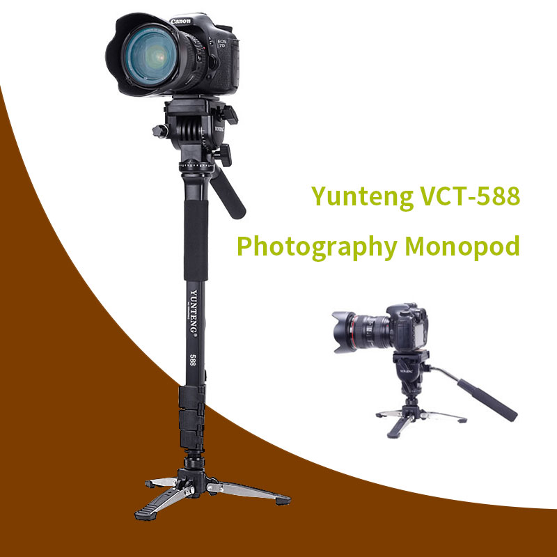 Yunteng VCT-588 Monopod & Fluid Pan Head Ball & DV Unipod Mobile Phone Clip Holder For Canon Nikon DSLR штатив canon dv