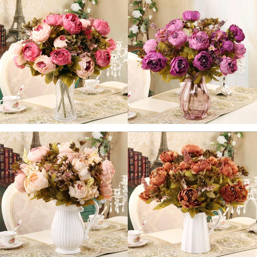 2015 new 1 hank decorative flowers artificial peony silk for Artificial flowers for home decoration online