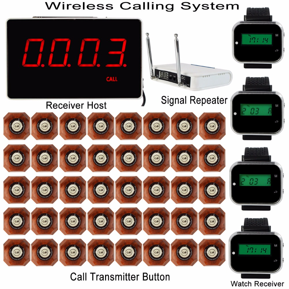 Wireless Calling System with Receiver Host+4pcs Watch Wrist Receiver+Signal Repeater+40pcs Call Transmitter Button Pager F3293 20pcs call transmitter button 3 watch receiver 433mhz 999ch restaurant pager wireless calling system catering equipment f3285c