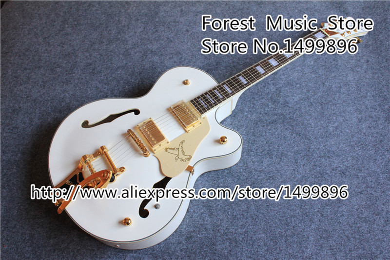 Hot Selling Gret.6136 Nashville White Falcon Electric Guitars China OEM Bigsby Guitarra In Stock hot sale high quality custom shop nashville gretsch white falcon 6120 hollow body jazz electric guitar with bigsby tremolo