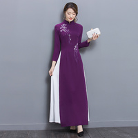 Spring Summer Dress Long Sleeve Women Dress Faux Two Pieces Evening Party dresses Vestidos Lady Long Chiffon dresses Robe