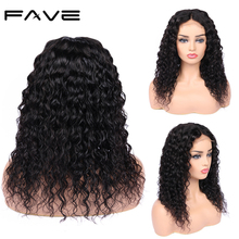 4*4 Lace Closure L/M/R Part Water Wave Wigs Brazilian Remy Wigs Glueless Lace Front Human Hair Wig For Black Women FAVE Hair