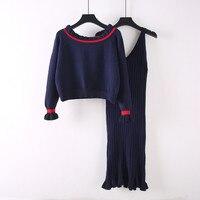 Korean Women Dress Sets 2018 Autumn Fashion Long Sleeve Knit Suits Slash Neck Sweater Knit Sets Casual Two Piece 2PC Outfits