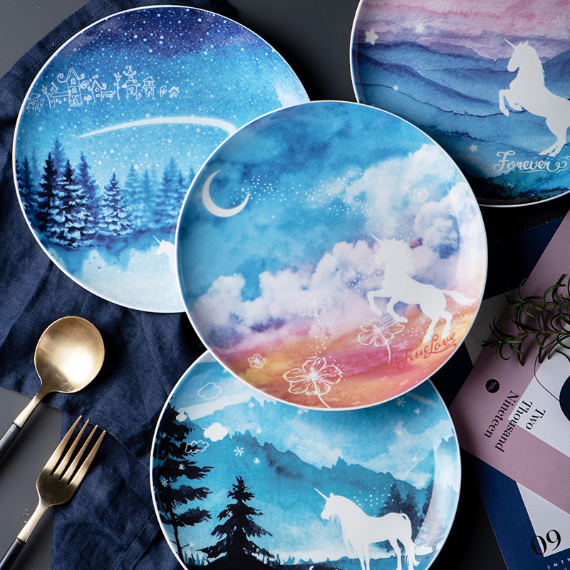 1pc Unicorn Ceramics Plate Ins Northern Plate Fruits Salad Dish Food Pastry 8 Inch Disc  Blow Best Christmas Gift For Family