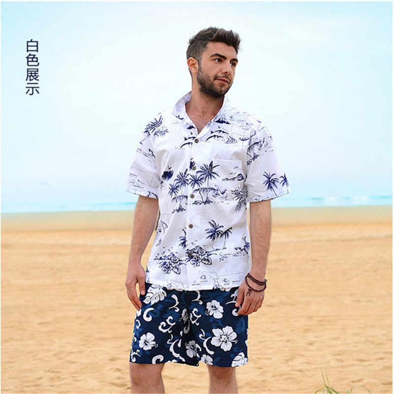 Новинка 2019, брендовая Летняя мужская Гавайская пляжная рубашка, мужские свободные хлопковые повседневные рубашки с коротким рукавом, размер США, а853