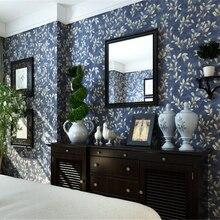 Papel de pared beibehang, papel tapiz clásico americano puro de campo, flor de vid de jardín, azul oscuro, BELLEZA de hudas no tejidas