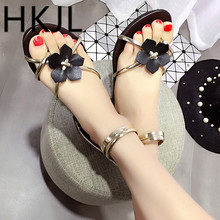 HKJL Fashion Summer 2019 new thick-soled womens open-toe zipper flowers sandals water flat Roman A043