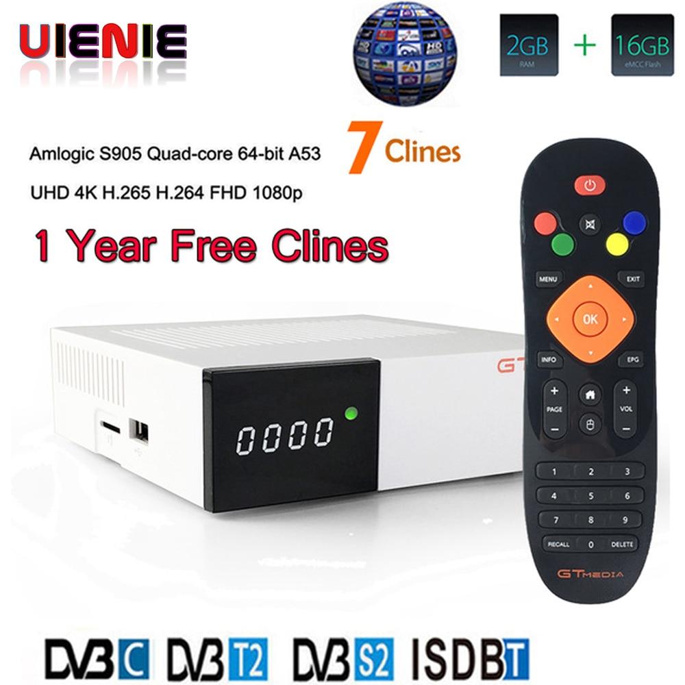 Freesat GTC decoder DVB-S2 DVB-C DVB-T2 Amlogic S905D android 6.0 TV BOX 2GB 16GB +1 Year cccam Satellite TV Receiver set tv box