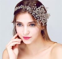 Gold Flower Tiara Pearl Hair Jewelry Headband Wedding Hair Accessories Bridal Headpiece Bijoux De Tete Cheveux