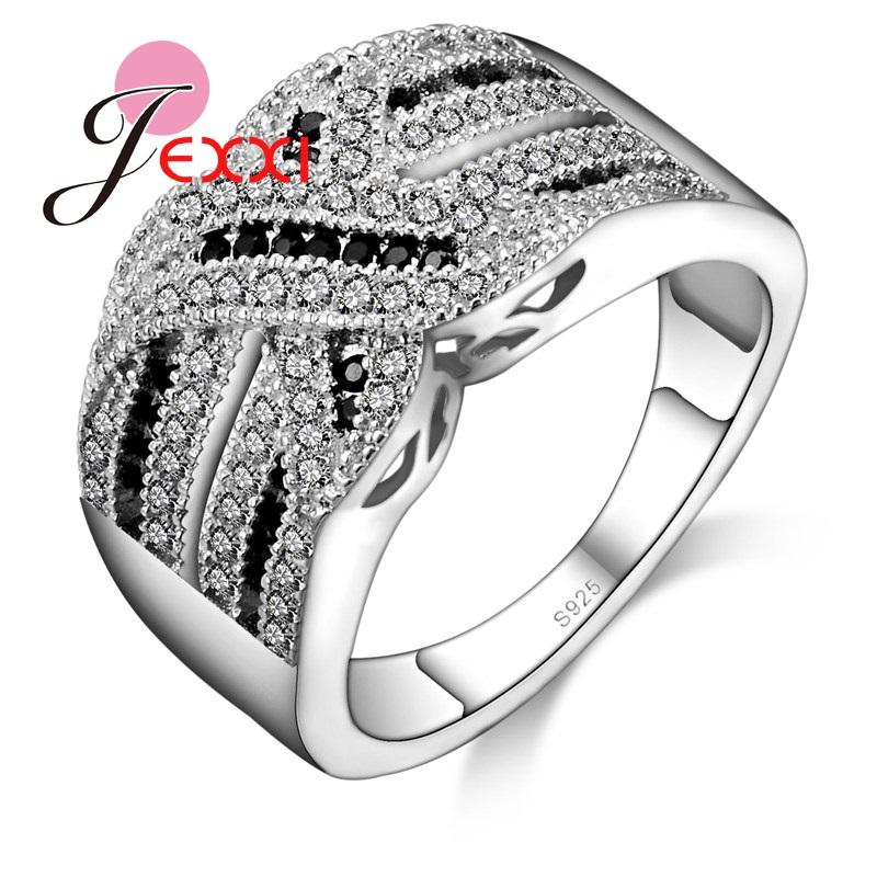 PATICO Luxury Women Wedding Engagement Rings 100% 925 Sterling Silver Jewelry CZ Crystal Ring Vintage Fine Jewelry