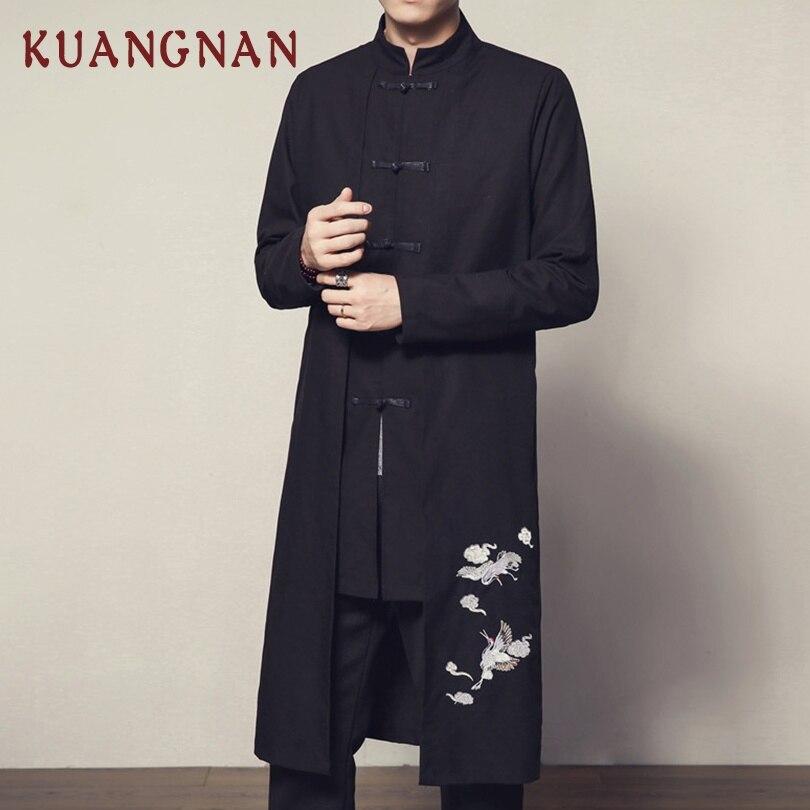 KUANGNAN Chinese Crane Embroidery Long Coat Men Overcoat Streetwear Long Jacket Men Long   Trench   Coat Men 2019 Spring New