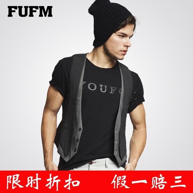 Fufm 2013 male winter faux two piece casual vest clip all-match small vest male