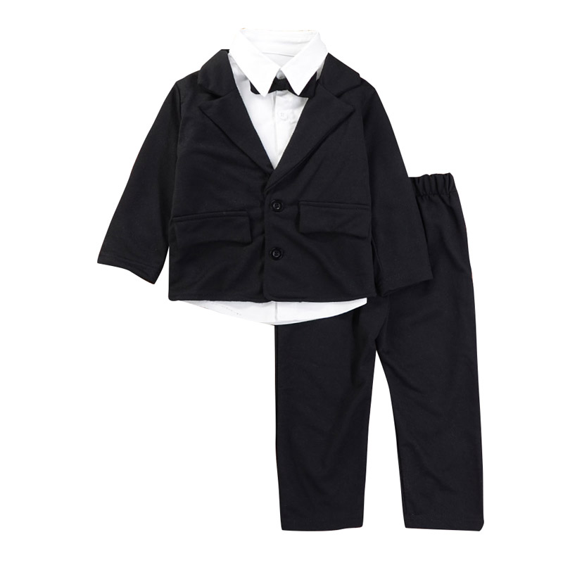 Children Boys Formal Suits White Shirt Coat Pants Clothing Sets Wedding Party Birthday Gentleman Suits kindstraum 3pcs boys gentleman formal suits cotton long sleeve shirt vest denim pants toddler kids wedding clothing sets mc951