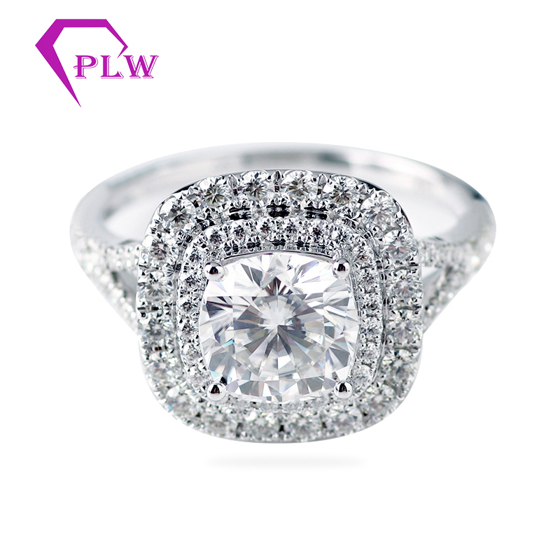 Classic style two halo 18k white color gold 3ct D color ice cushion moissanite ring for