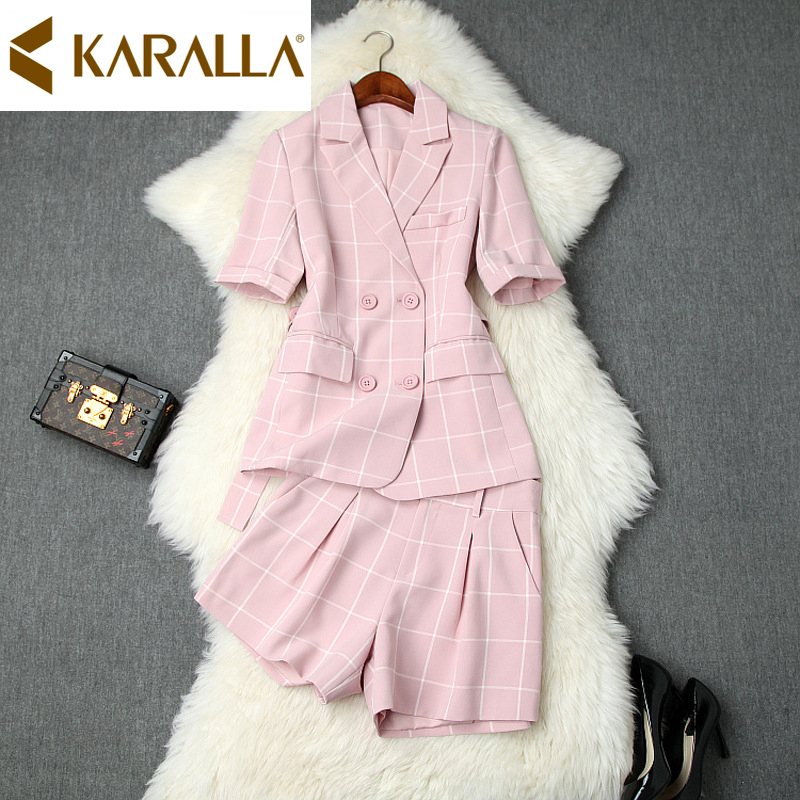 High class Fabric Elegant Office Ladies Suit Sets New Plaid Double breasted Slim Blazer High waist