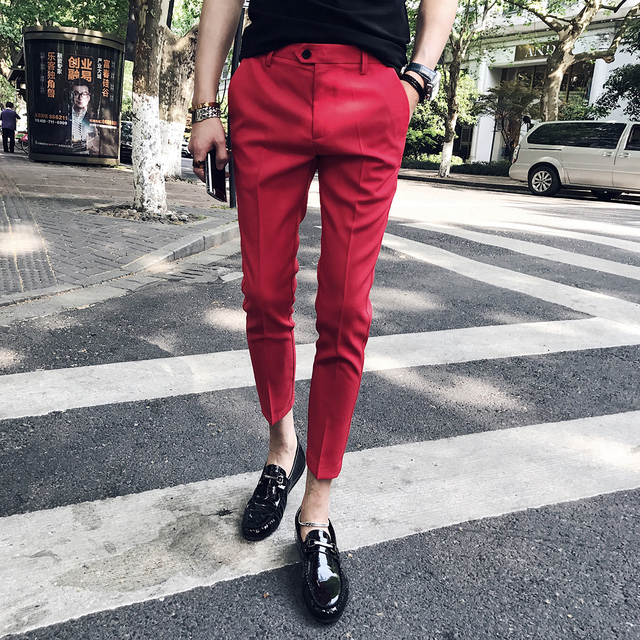 d41152634be8 Red Cargo Pants Blue Dress Ankle Pants Calca Social Pantalones Sociales Trousers  Summer Dress Pants For Men Black Pants Slim Fit