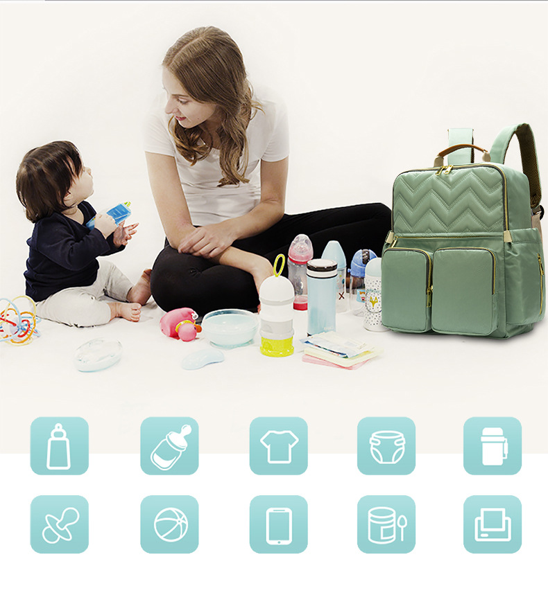 2019 New Baby Diaper Bag Interface Large Capacity Waterproof Nappy Bag Kits Mummy Maternity Travel Backpack Nursing (2)