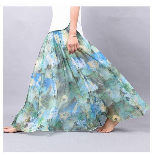 2016 Nueva Gasa Falda de Verano bohemia de la Impresión Floral Playa Maxi Plisada Falda Larga De flores Para Las Mujeres faldas