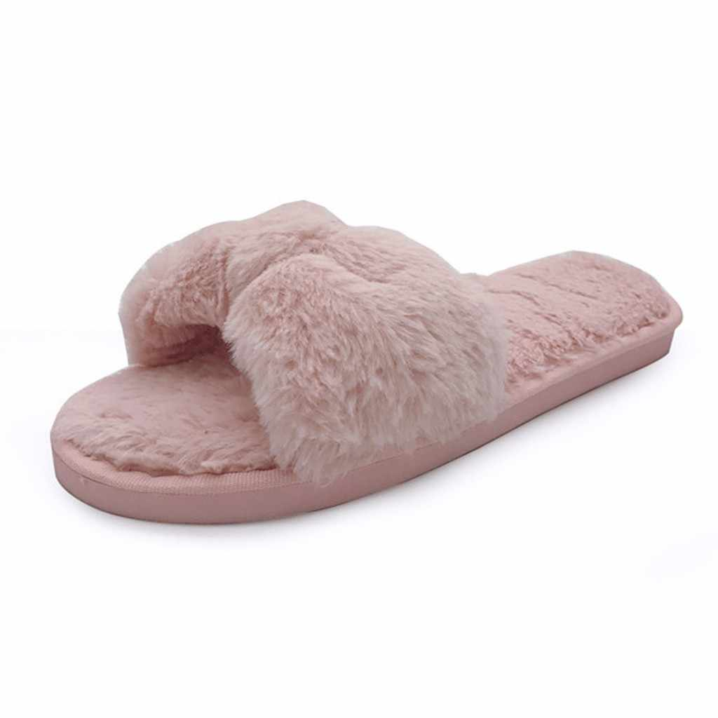 womens shoes 2020 pink Warm Solid Bow Knot Plush Soft Slippers Winter Warm Casual House Shoes Fashion Plus Size calzado mujer