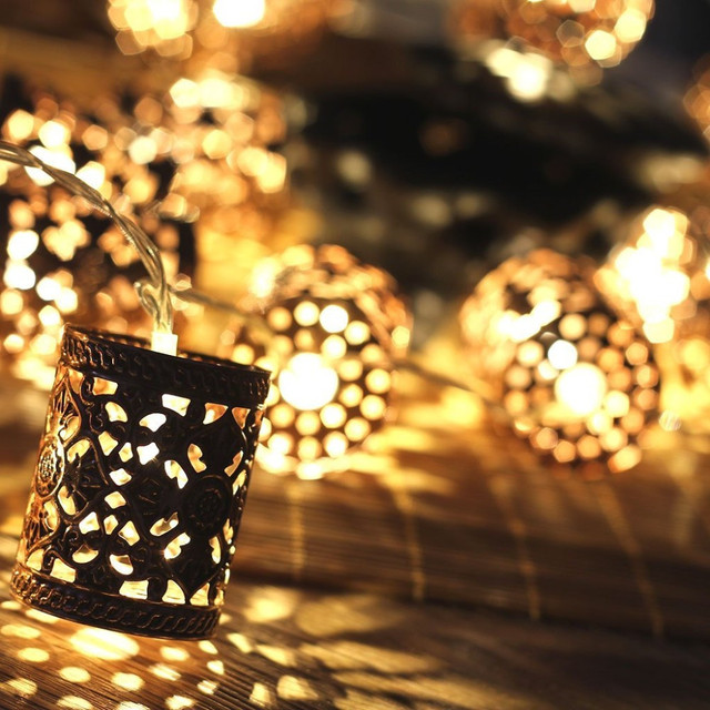 steel retro round lantern battery operated led fairy string christmas lights diy for christmas xmas tree