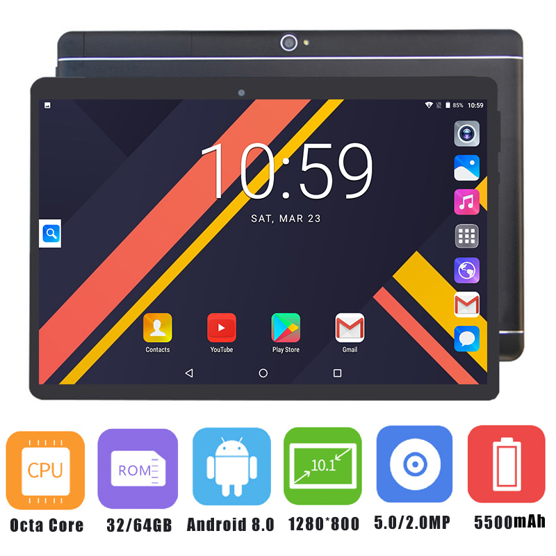"2019 Newest 10 inch Tablet PC MTK8752 Octa Core 4GB RAM 64GB ROM Android 8.0 GPS Dual Camera 5.0MP 3G 4G LTE PC Tablet 10.1""-in Tablets from Computer & Office    1"