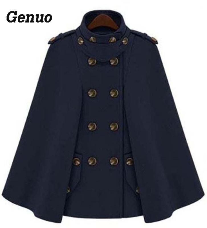Genuo, плащ с пряжкой, пончо, Женское пальто, новая мода, Европейское шерстяное пальто, женское осеннее Свободное пальто, женская теплая верхняя одежда - Цвет: Синий