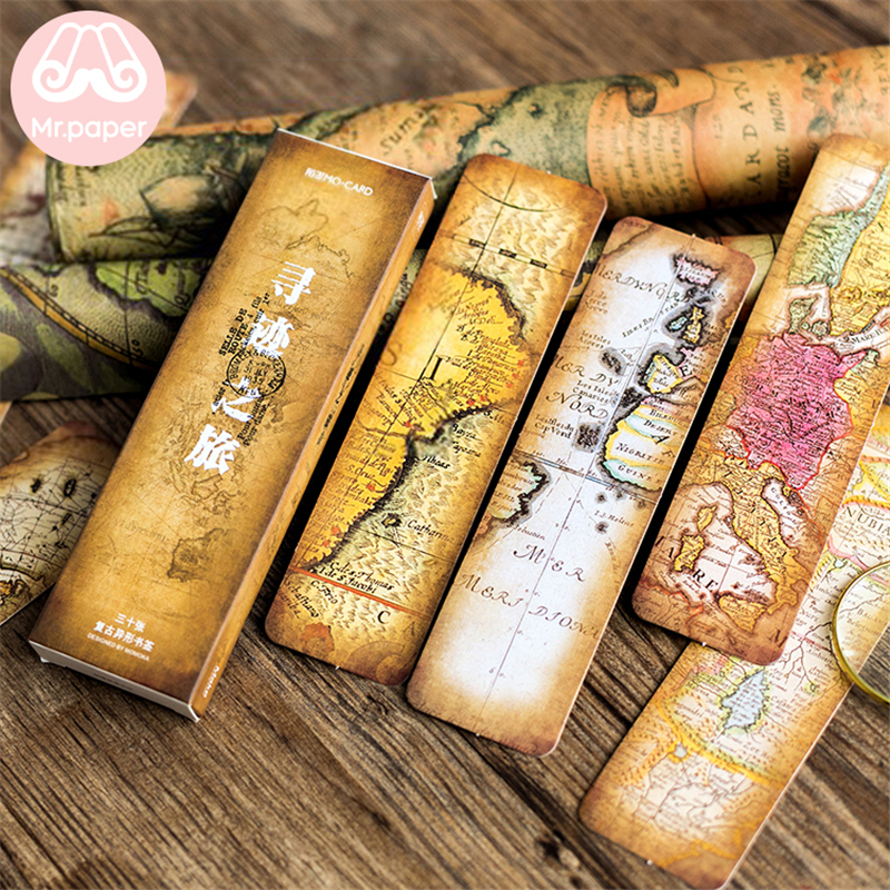 Mr Paper 30pcs/box Vintage Retro Style Wolrd Traveling Map Bookmarks for Novelty Book Reading Maker Page Creative Paper Bookmark 2