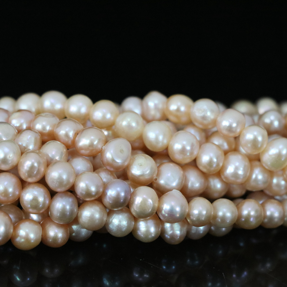 New 7-8mm orange natural pearl approx round spacer beauty jewelry making High quality loose beads 15inch B1350