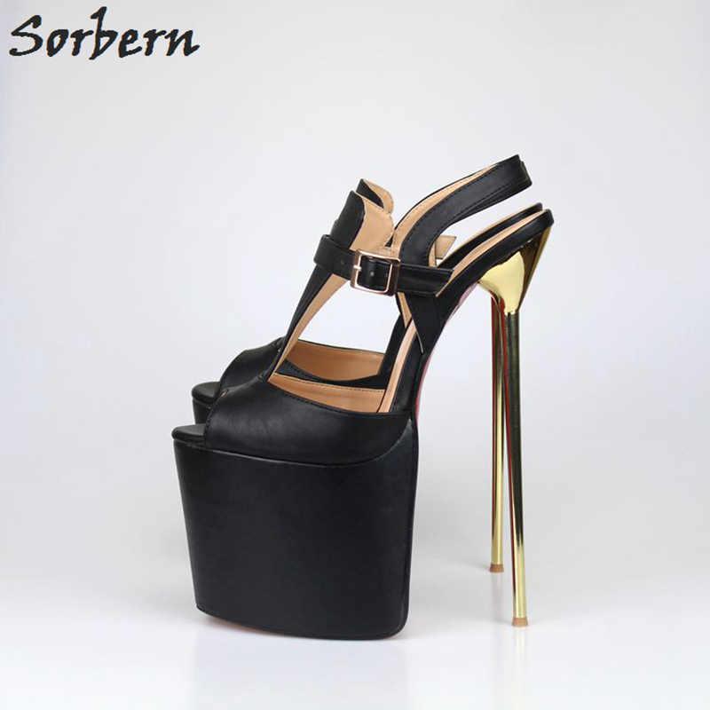a1792a09066 Sorbern Sex Platform High Heels 22Cm Plus Size 40-47 Unisex Pumps Ankle  Straps T