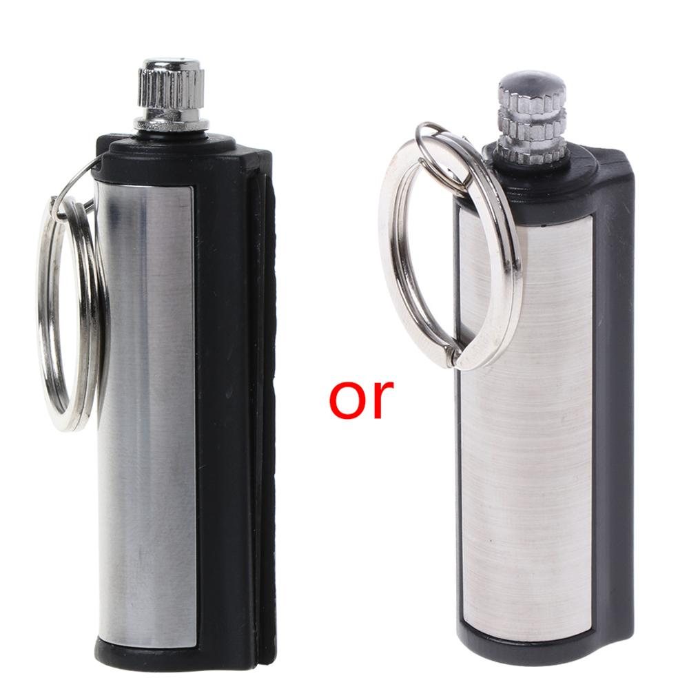 Fashion Keyring Permanent Striker Lighter Match Silver Metal Key Chain Stainless Steel