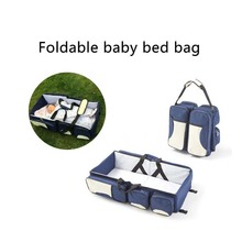 Multi-Function Mummy Bag Waterproof Baby Travel Crib Change Diaper Foldable Mummy Shoulder Bag Portable Baby Mummy Bag Bed
