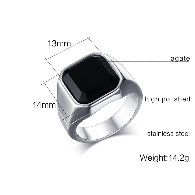 KUNIU Fahsion big stone ring for man stainless steel classic punk ...