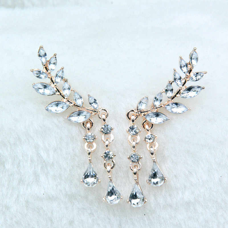 Women's Angel Wings Stud Earrings Rhinestone Inlaid Alloy Ear Jewelry Party Earring Gothic Feather Brincos Fashion 2017