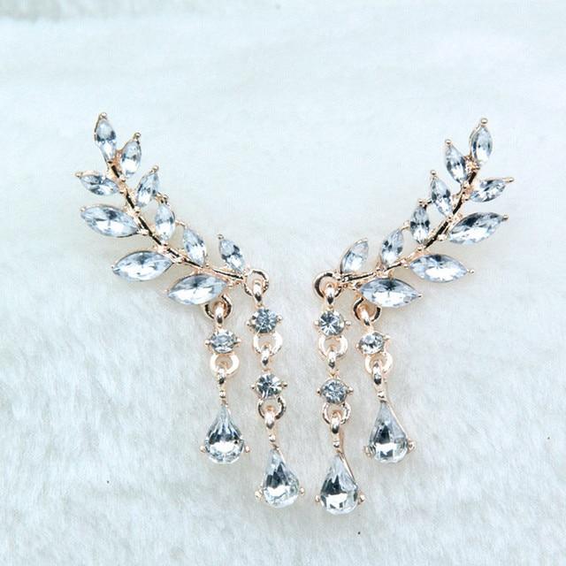 Las mujeres alas de Ángel pendientes de diamantes de imitación con incrustaciones de aleación de joyas oído partido pendiente gótico de Brincos de moda 2017