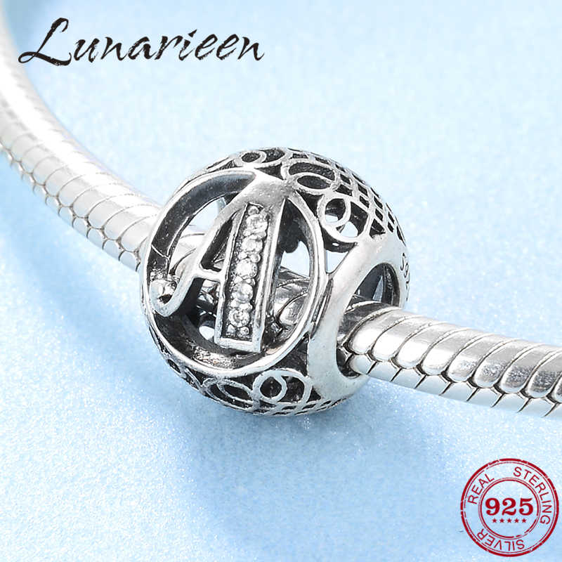 New 925 Sterling Silver Fashion DIY transparent zircon letter A beads Fit Original Pandora Charms Bracelets making