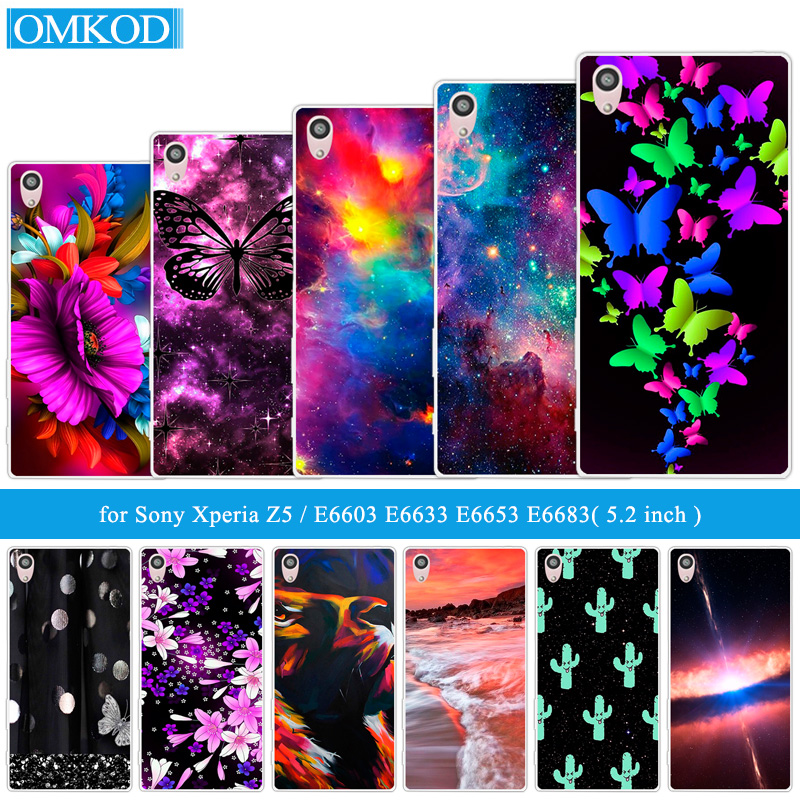 5.2inch For <font><b>Sony</b></font> Xperia Z5 Cover TPU Silicone Protective Butterfly Fundas DIY For <font><b>Sony</b></font> Z5 E6603 <font><b>E6633</b></font> E6653 E6683 Phone Cases image