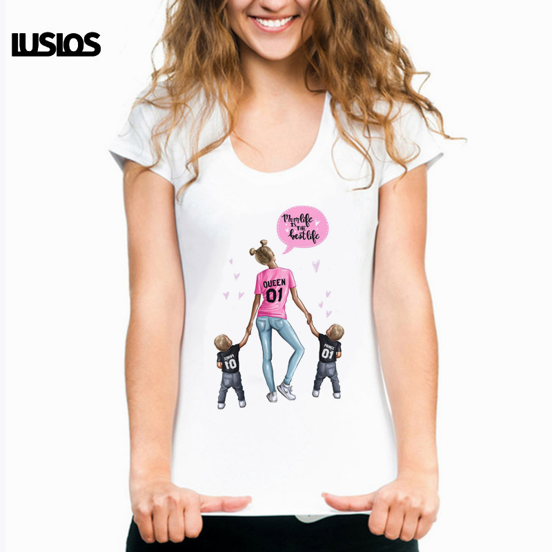 LUS LOS Mom Life is The Best Life Super Mama Print Female   T     Shirt   Summer Women Cute Korean Style Fashion Vogue Tshirt Harajuku