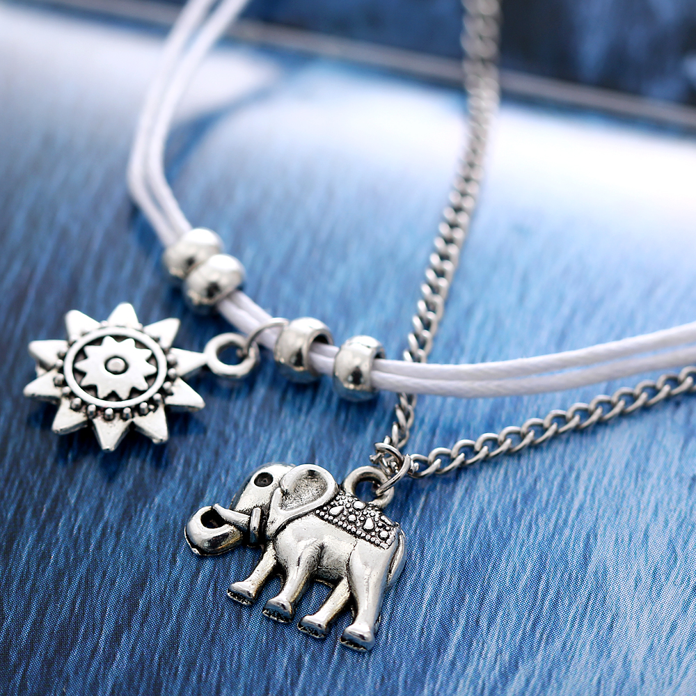 IF ME Vintage Multiple Layers Anklets for Women Elephant Sun Pendant Charms Rope Chain Beach Summer Foot Ankle Bracelet Jewelry 4