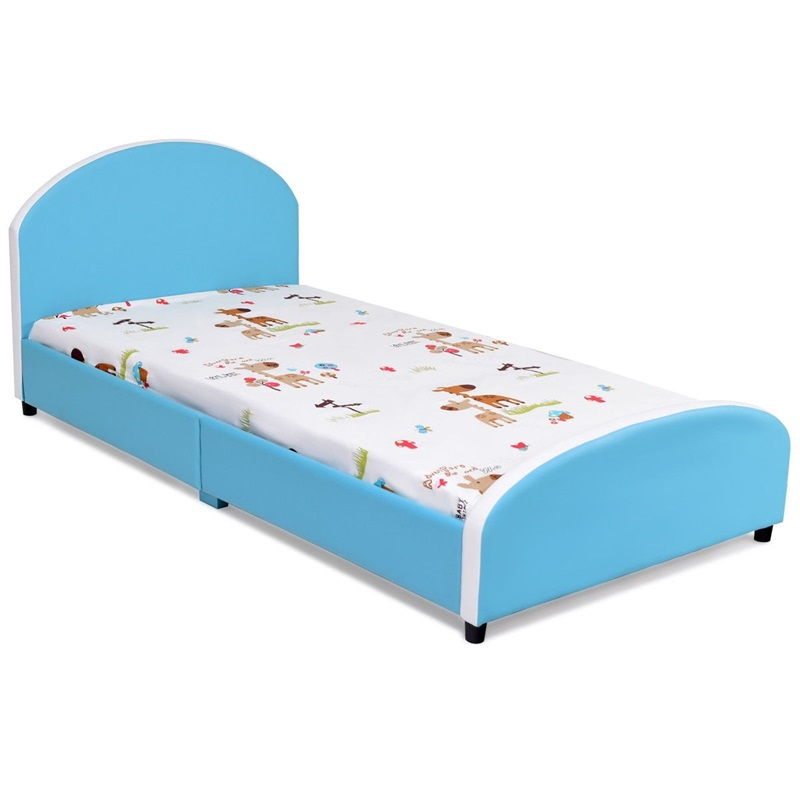 Kids Children PU Upholstered Platform Wooden Princess Bed High Quality Modern Sturdy Stable Kids Beds Furniture HW59102