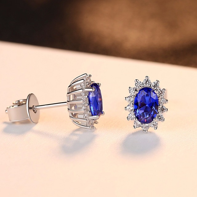 CZCITY New Natural Birthstone Royal Blue Oval Topaz Stud Earrings With Solid 925 Sterling Silver Fine Jewelry For Women Brincos