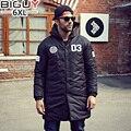 БОЛЬШОЙ ПАРЕНЬ Плюс Размер 4XL 5XL 6XL Мужская Куртка С Капюшоном Куртки 2016 Новая Мода Черный Длинные Утка Вниз Зимняя Куртка Для Мужчин 1366
