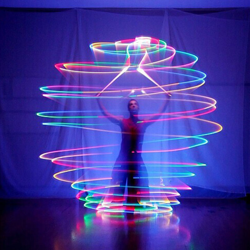 Pair LED POI Thrown Balls Professional Belly Dance Level Flames Dancing Light