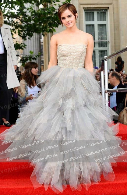 Free Shipping Wholesale Emma Watson Tulle Prom Dress Harry Potter