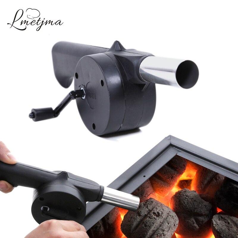 LMETJMA Outdoor Camping BBQ Fan Air Blower For Barbecue Picnic Fire Bellows w Hand Crank Blower Manual Blower Soplador KC0510-3