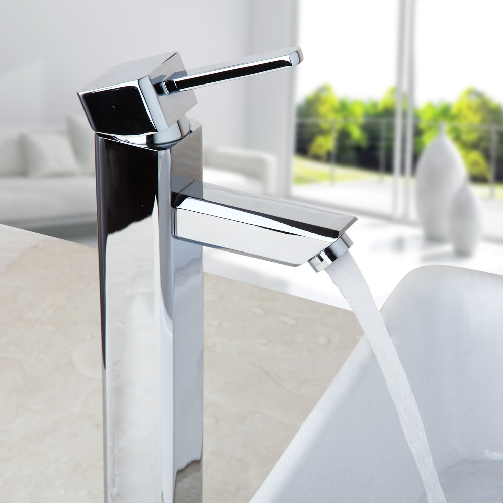 Chrome Finish Deck Mounted Faucet Hot & Cold Water Mixer Luxury Single Lever Tap Bathroom Basin Sink Kitchen Taps crystal white basin vessel sink faucet single lever countertop bathroom mixer taps with hot and cold water