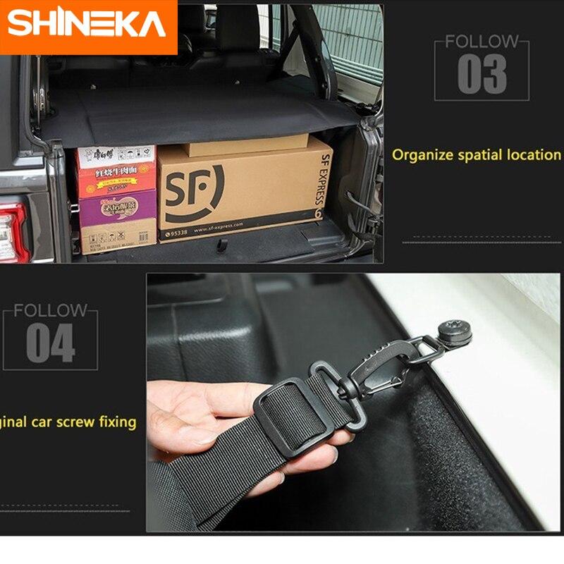 SHINEKA moulures intérieures pour Jeep Wrangler JL 2018 + couverture de rideau de coffre de transporteur de bagages de voiture pour Wrangler 2019 accessoires de voiture - 4