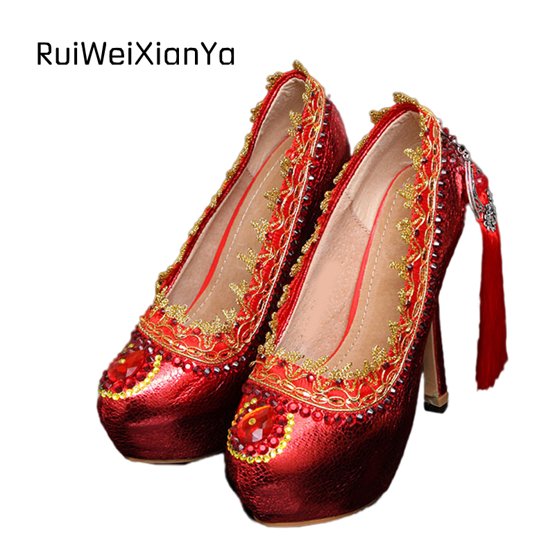 2017 New Fashion Spring Women Pumps High Heels Platform Tassel Crystal Bridal Red Wedding Shoes for Ladies Plus Size Hot Sale 2017 new fashion spring ladies pointed toe shoes woman flats crystal diamond silver wedding shoes for bridal plus size hot sale